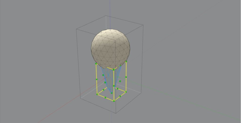 Globule component's lower faces being scaled
