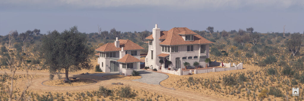 A rendered house in the desert